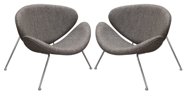 Wondrous Set Of 2 Roxy Accent Chairs With Chrome Frame Gray Fabric Ibusinesslaw Wood Chair Design Ideas Ibusinesslaworg