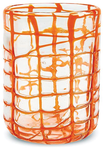 11oz Abstract Rocks OrangeOld Fashioned Glass, Orange, Set of 4