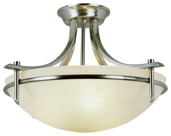 Modern Slim-Line 3-Light Semi-Flush Mounts, Brushed Nickel.
