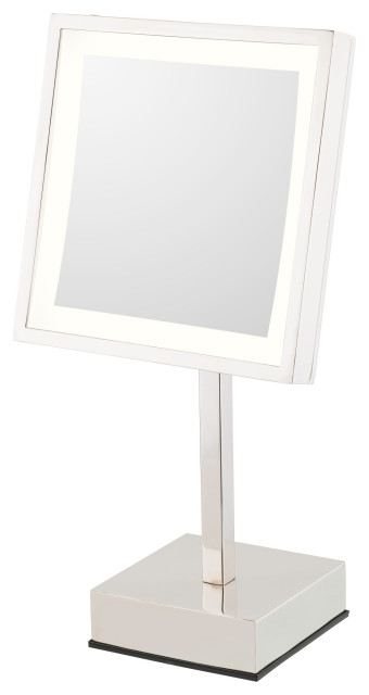 Square Rechargeable LED Lighted Freestanding Makeup Mirror, Polished Nickel, War