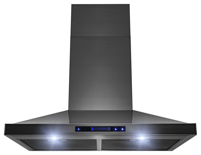 Akdy 30 Wall Mount Black Stainless Steel Touch Panel Kitchen Range Hood Contemporary Range Hoods And Vents By Akdy Home Improvement