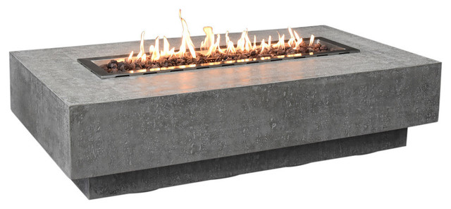 """Outdoor Hampton Fire Pit Table 56x32"""", Gray Durable Fire Bowl, Natural Gas"""