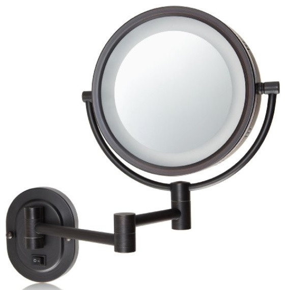 Lighted Wall Mount Makeup Mirror jerdon hl65bzd hard-wired 8-inch two-sided swivel halo lighted