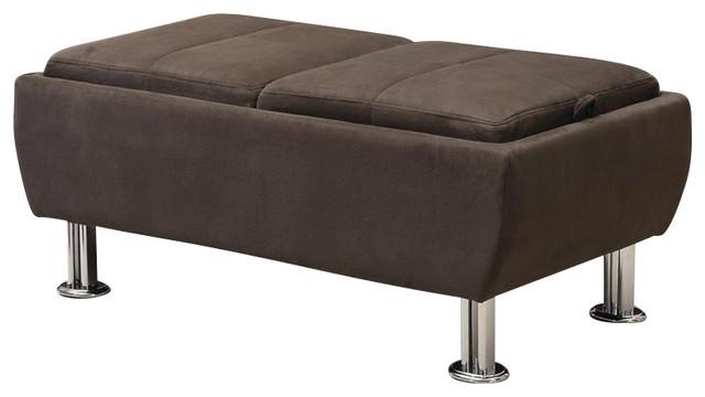 Coaster Casual Microfiber Ottoman With Serving Trays In
