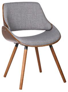 Mid-Century Grey Fabric Dining Chair