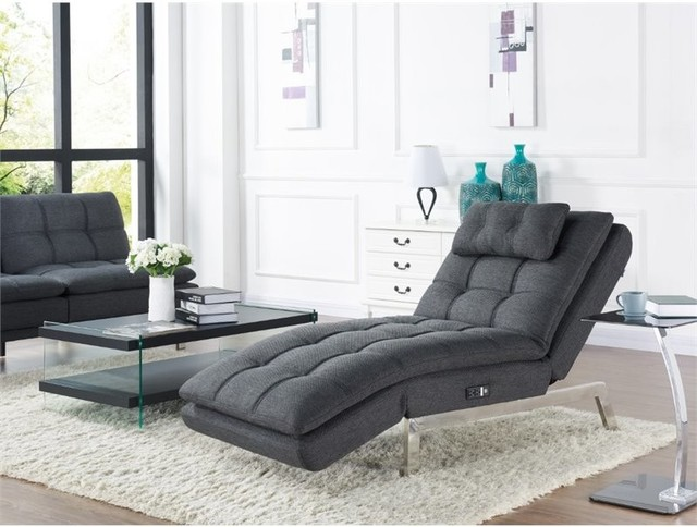 Relax-A-Lounger Hermes Convertible Chaise Lounge in Charcoal Grey indoor- chaise- : grey chaise lounge chair - Sectionals, Sofas & Couches