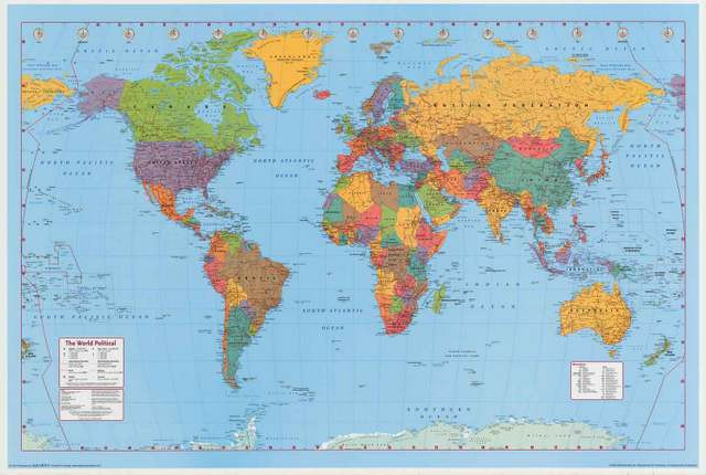 World Map Geography Poster 24x36 Traditional Prints And Posters by Bana