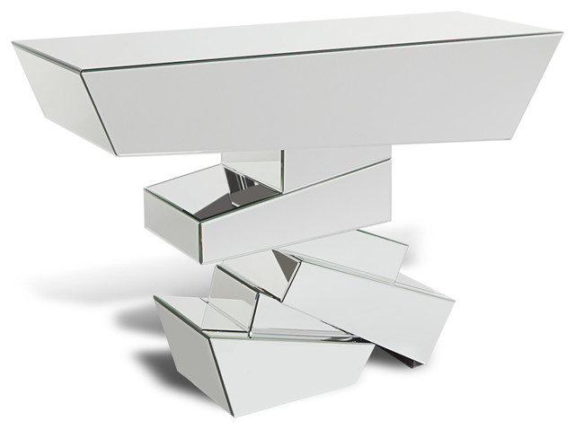 Naxos Glass Mirrored Console Table Contemporary Console Tables