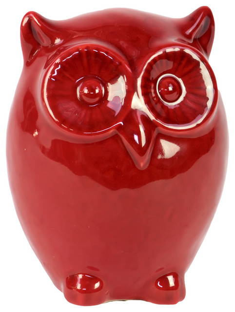 Red Ceramic Owl Figurine Farmhouse Decorative Objects