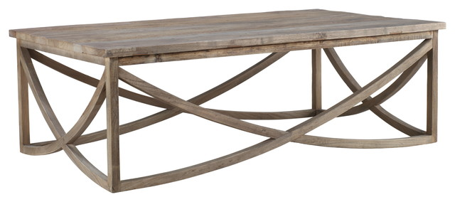 Clifton Reclaimed Wood Coffee Table With Carved Base.