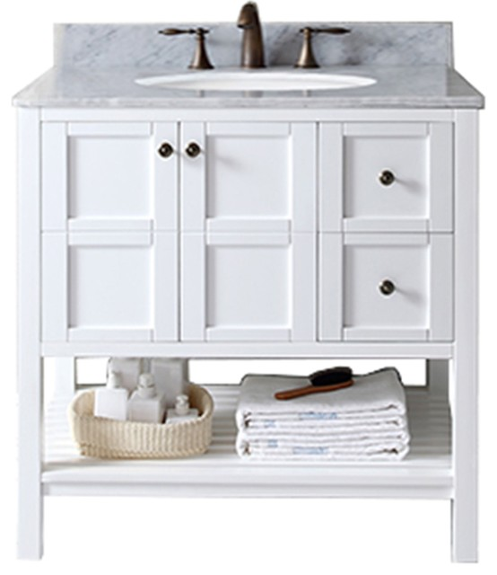 "Winterfell 36"" Single Bathroom Vanity Set, White With No Mirror."