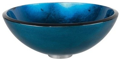 16 Irruption Blue Vessel Sink, Multicolor Glass.