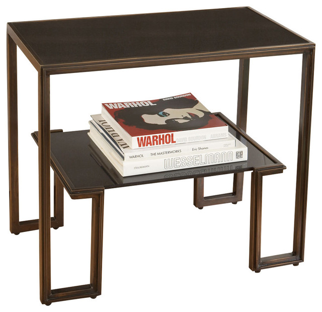 One Up Table, Bronze Finish Transitional Side Tables And End