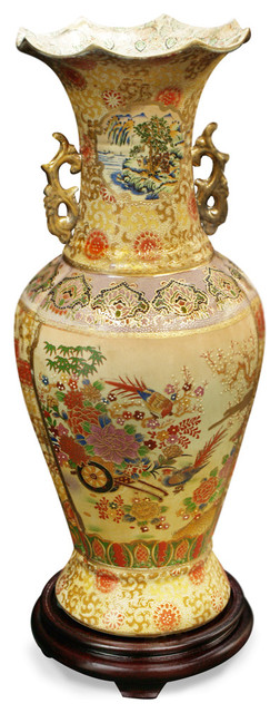 Hand painted satsuma design vase with wooden stand asian for Asian furniture westmont il