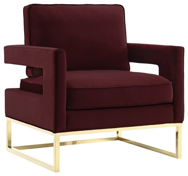 Avery Maroon Velvet Chair Contemporary Armchairs And