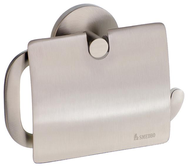 Smedbo Loft Toilet Paper Holder With Lid Brushed Nickel