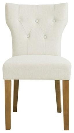 Avila Tufted Back Dining Chair Set Of 2 Cream Transitional