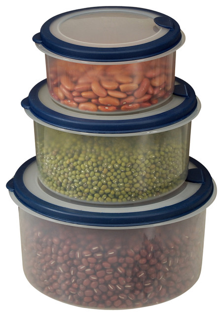 6 Piece Plastic Container Set With Round Lids