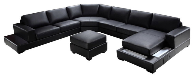 Soflex Baltimore Ultra Modern Black Faux Leather Sectional Sofa Set Right Chaise.