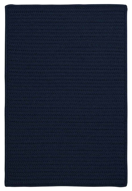 Solid Textured Braided Rug Navy Blue Indoor Outdoor