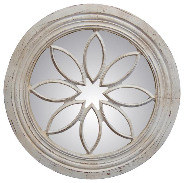 Petal Circle Mirror, Old World White.