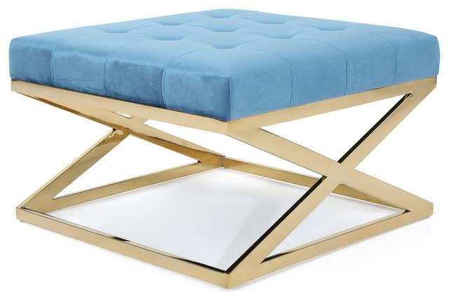 Brilliant Gdf Studio Jennifer Tufted Velvet Ottoman With Stainless Steel Frame Aqua Gold Customarchery Wood Chair Design Ideas Customarcherynet