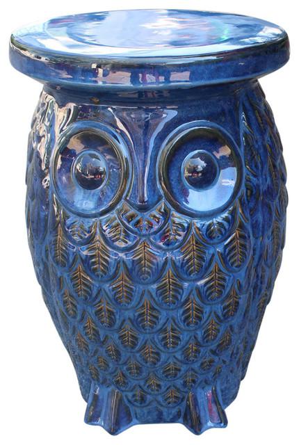 Bon Navy Blue Wise Old Owl Ceramic Garden Stool,Navy Blue Glaze