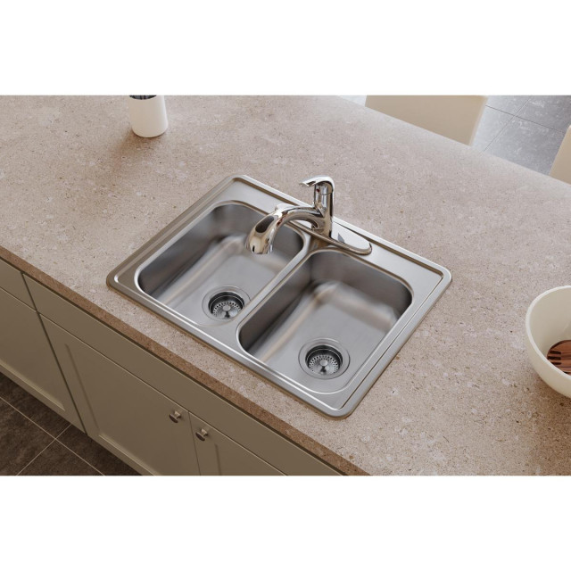 """D225193 Dayton Stainless Steel 25"""" x 19"""" Double Bowl Drop-in Sink, 3 Holes"""