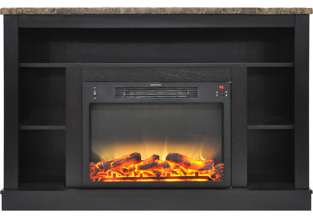 47 In. Electric Fireplace With Enhanced Log Insert And Black Coffee Mantel.