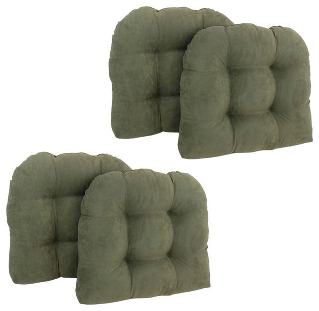 "19"" U-Shaped Micro Suede Tufted Dining Chair Cushions, Set ..."