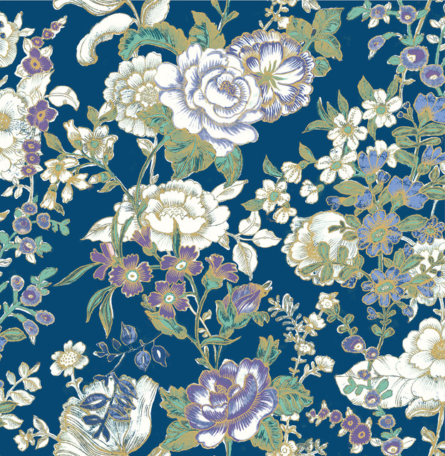 Ainsley Indigo Boho Floral Wallpaper Bolt Contemporary