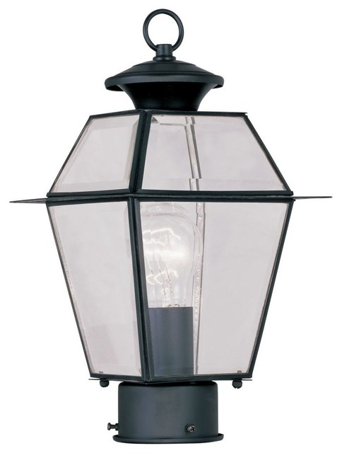 Livex Westover 1-Light Outdoor Post And Lanterns, Black.