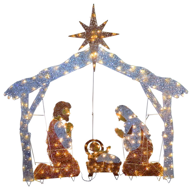 """72"""" Nativity Scene With Clear Lights"""