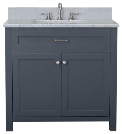 Cabinet Mania Gray Shaker 36 Quot Bathroom Vanity With Marble