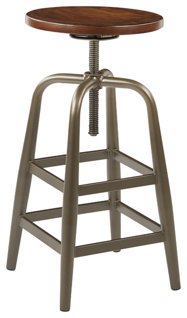 Sullivan Swivel Stool, Pewter And Walnut Finish Industrial Bar Stools And