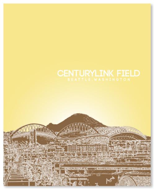 Centurylink Field Seattle Washington Skyline Art Poster
