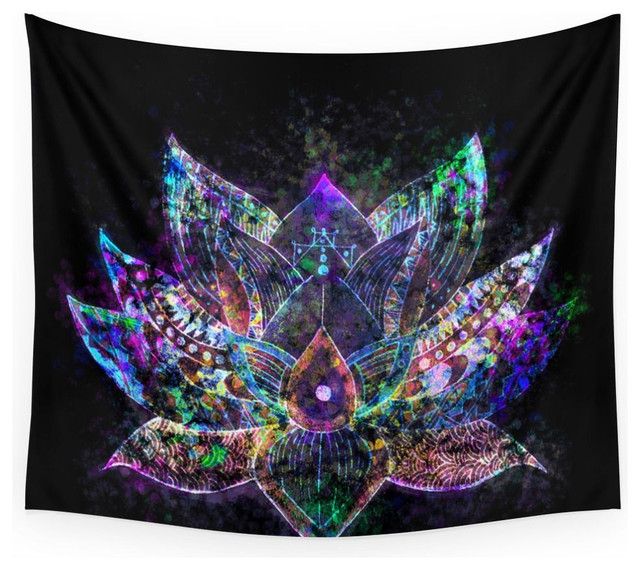 Society6 Lotus Flower Glow Wall Tapestry
