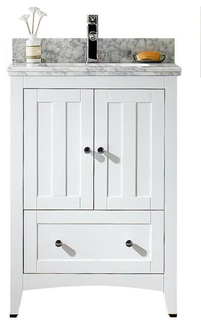 Plywood-Veneer Vanity Set, White, 23.5x18.