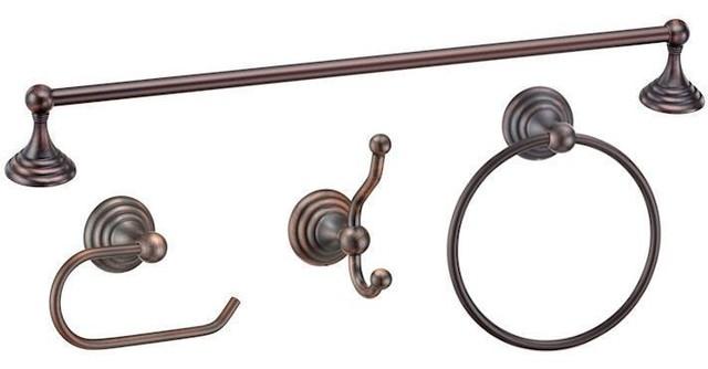 Stockton Series 4 Piece Oil Rubbed Bronze Bathroom Hardware Set    Traditional   Bathroom Accessory Sets   By Door Corner