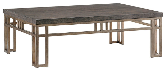 Montera Travertine Cocktail Table Craftsman Coffee Tables by