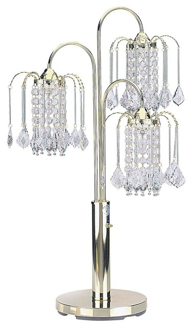 3 Light Chandelier Style Table Lamp In Polished Br Finish Contemporary Lamps