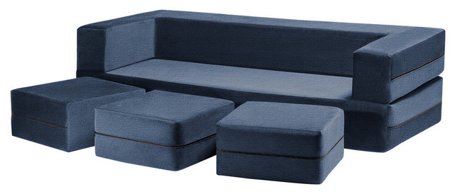 Zipline Convertible Sofa Bed and Ottomans, Cover, 4-Piece Set, Marine Blue