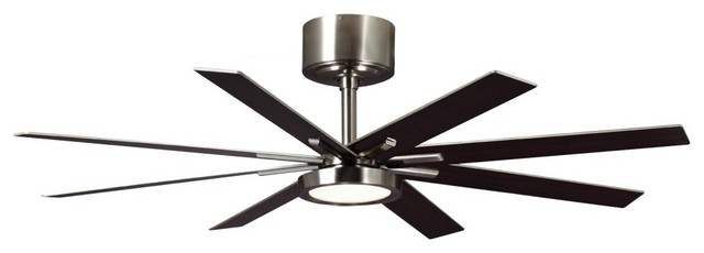 Monte Carlo Empire Empire 8 Blade 60 Indoor Ceiling Fan, Brushed Steel.