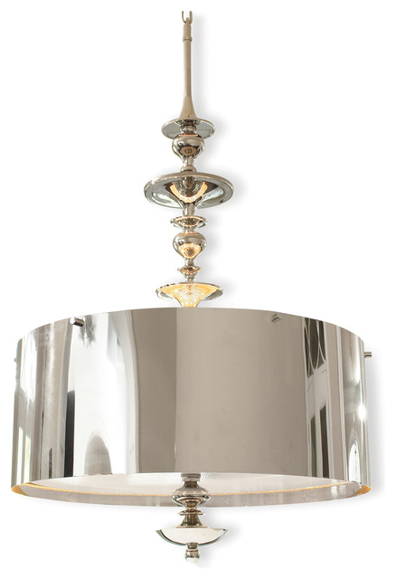 karel polished nickel hollywood regency pendant lamp 30