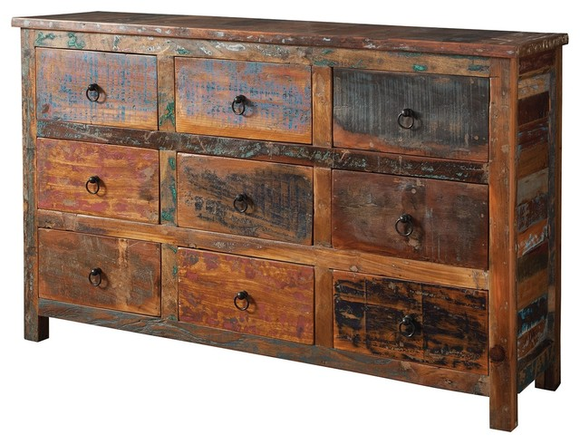 India Antique Accent Cabinet Console Table Rustic Reclaimed Wood Mix Teak Drawer