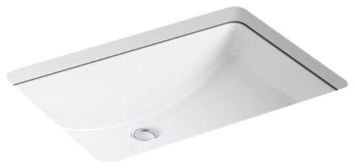 """Kohler Ladena 23-1/4"""" X 16-1/4"""" X 8-1/8"""" Under-Mount Bathroom Sink, White"""