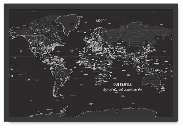 Black And White World Map Framed.Dark Push Pin Map Framed 24 X36 Contemporary Prints And