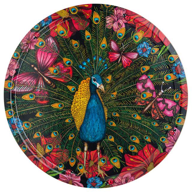 Peacock Tray, 46 cm