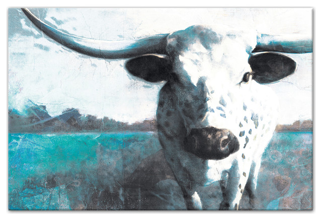 """Teal Spotted Ox"" Canvas Wall Art, 48""x32"""
