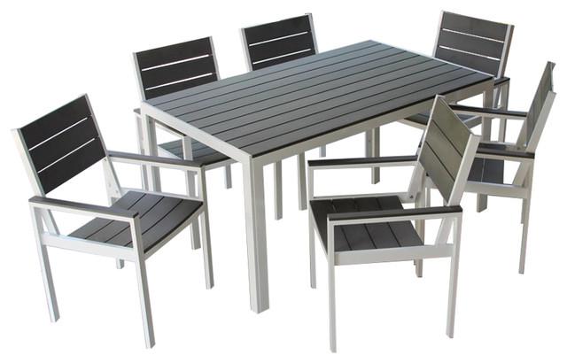 Tremendous 7 Piece Winston Outdoor Patio Dining Set White Aluminum Frame Gray Download Free Architecture Designs Rallybritishbridgeorg